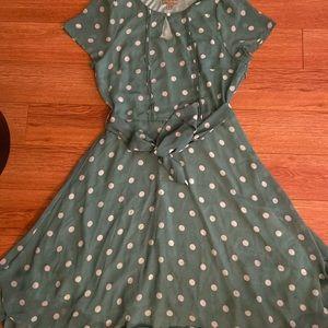 Lindy Bop Green Polkadotted Tea dress